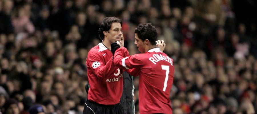 Van Nistelrooy y Cristiano Ronaldo, durante un partido del Manchester United