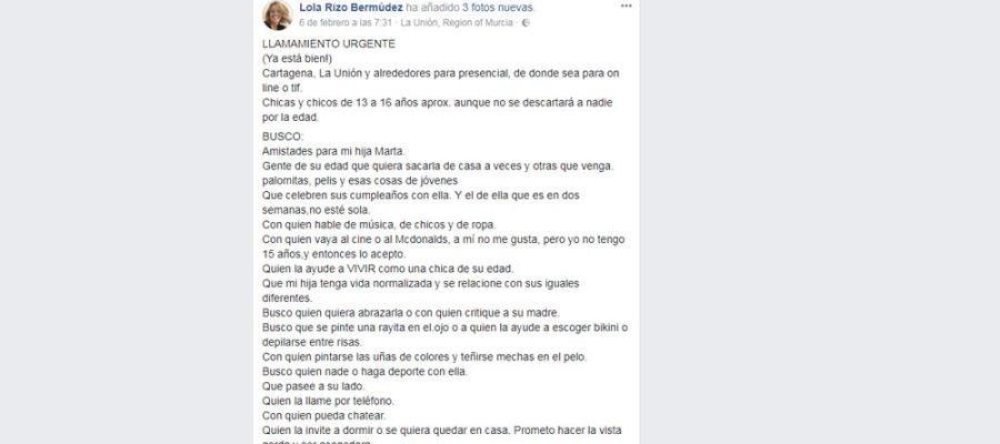 Mensaje en Facebook de Lola Rizo