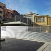 Zona acotada para las excavaciones arqueológicas en la Plaza de las Flores