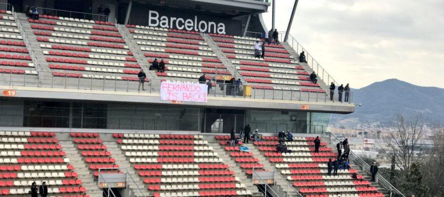 La pancarta de los aficionados en Montmeló