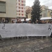 Usuarios de Radio Jove Elx concentrados ante el Ayuntamiento de Elche