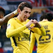Di María celebra su gol ante el Troyes