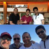 Neymar y su padre posan con Al-Khelaifi en Brasil