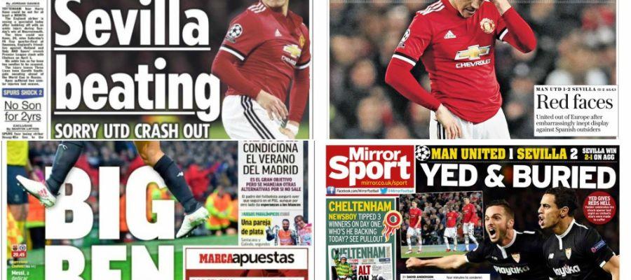 Así recoge la prensa la eliminación del United a manos del Sevilla