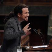 El líder de Podemos, Pablo Iglesias, durante su intervención en el pleno del Congreso