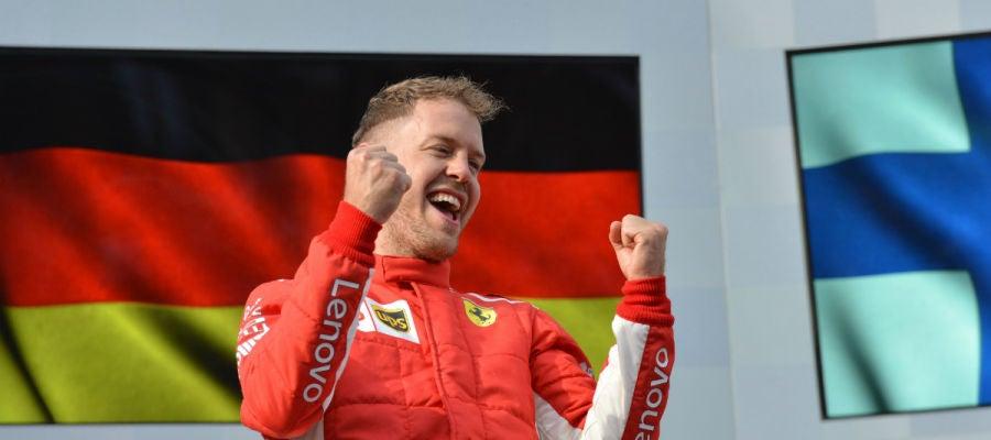 Vettel celebra un triunfo