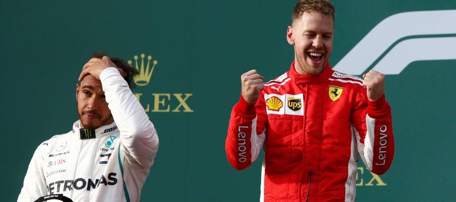 Vettel y Hamilton en el podio de Albert Park