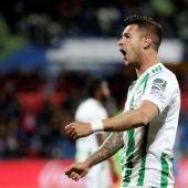 Sergio León celebra su gol contra el Getafe
