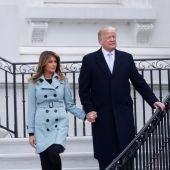 Donald y Melania Trump durante la celebración anual de la Pascua