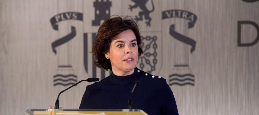 La vicepresidenta del Gobierno Soraya Sáenz de Santamaría, en un acto el pasado martes en Santander