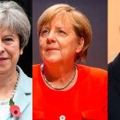 Theresa May, Angela Merkel y Vladimir Putin