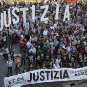Manifestación en favor de los ocho jóvenes de Alsasua detenidos