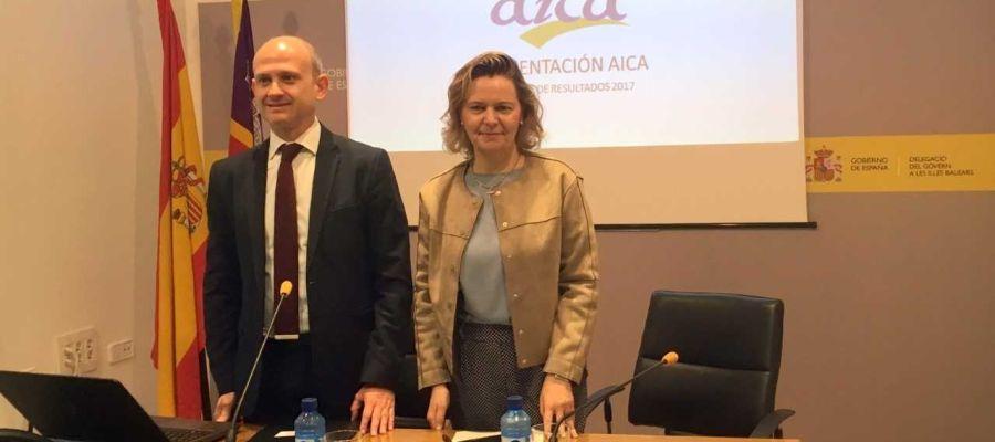 El director de AICA y la Delegada del Gobierno en Baleares, María Salom