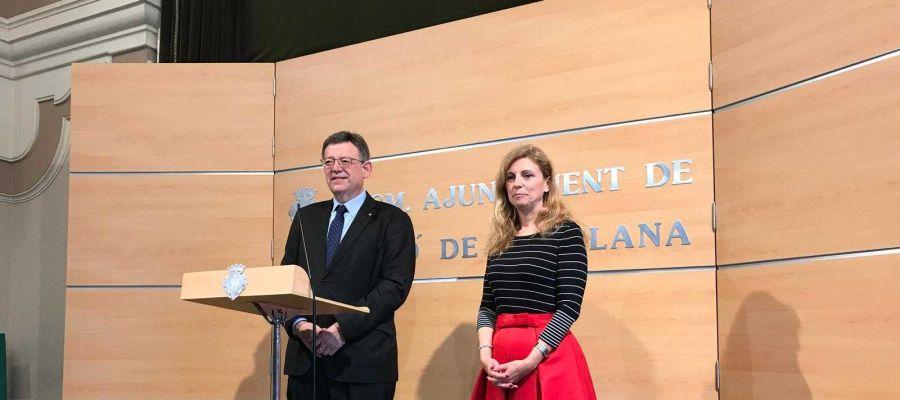 El presidente de la Generalitat, Ximo Puig, y la alcaldesa de Castellón, Amparo Marco, tras la reunión mantenida para conocer las conclusiones del viaje de Puig a China y Japón.