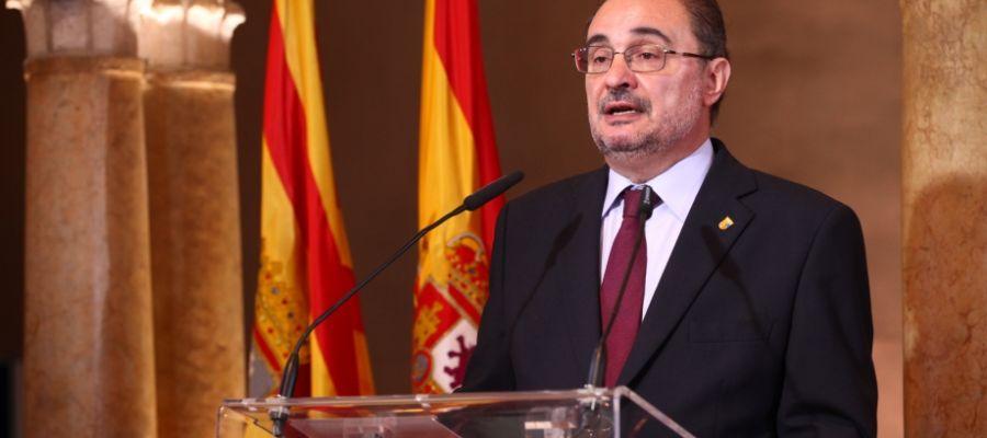 El presidente Javier Lambán en su intervención en las Cortes
