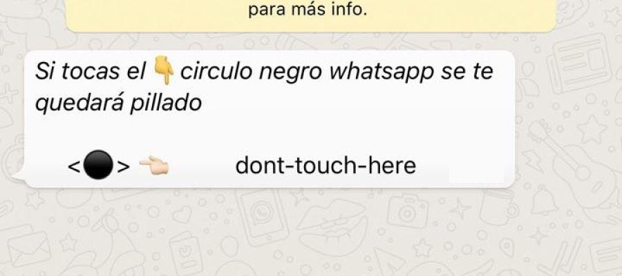 La broma del círculo negro que circula por WhatsApp