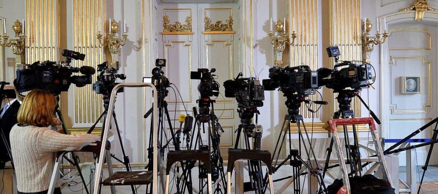 Imagen de archivo de los medios preparados para conocer un Premio Nobel de Literatura