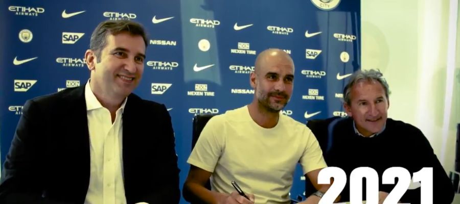 Guardiola firma su contrato hasta 2021