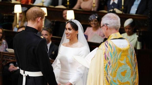 Meghan Markle durante su boda con el príncipe Harry