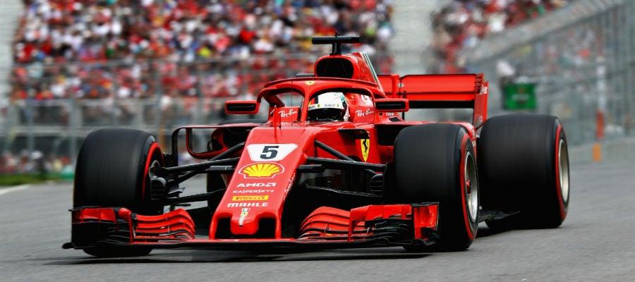 Vettel, con el Ferrari en Canadá