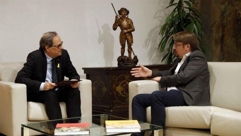 Quim Torra y Xavi Doménech en su reunión en el Palau