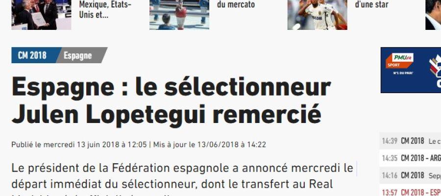 Portada de 'L'Equipe' sobre la destitución de Julen Lopetegui