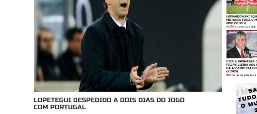 Portada del diario 'A bola' de Portugal sobre la destitución de Lopetegui