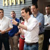 Pablo Casado en Córdoba durante la campaña a las primarias del PP
