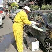 Un apicultor recoge las abejas del enjambre que ha aparecido en el retrovisor del vehículo