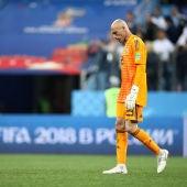 Willy Caballero, cabizbajo en un partido de la selección argentina