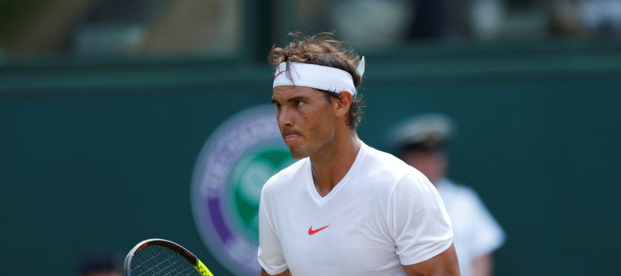 Rafa Nadal celebra uno de los puntos contra De Minaur