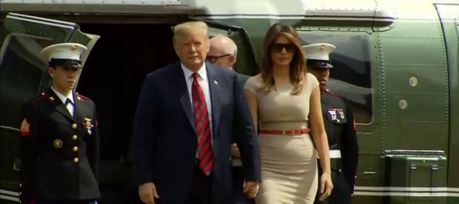 Trump llegando a Londres para iniciar su primera visita oficial