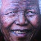 Retrato hiperrealista del fallecido político sudafricano Nelson Mandela