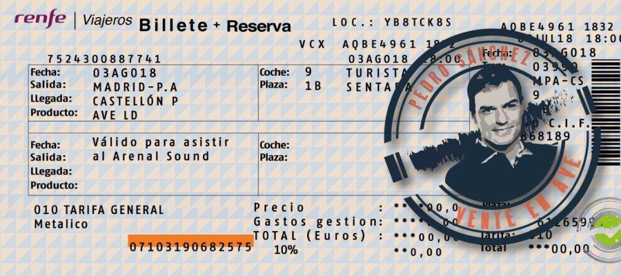 Billete de AVE de Nuevas Generaciones para Pedro Sánchez