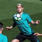 Theo en un entrenamiento con el Real Madrid