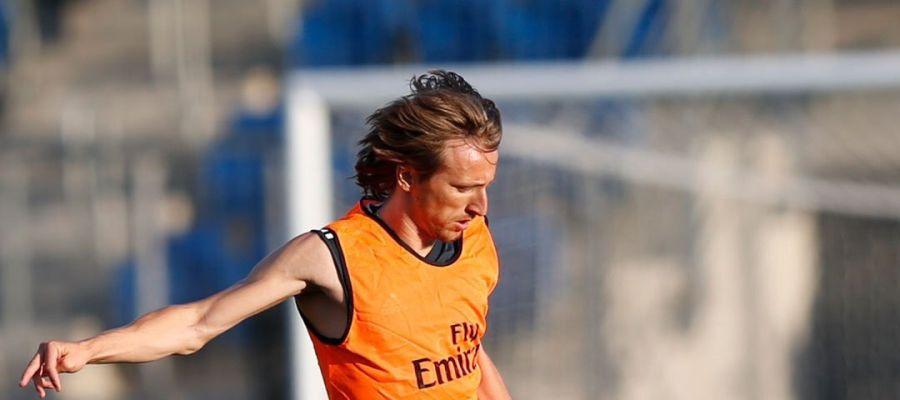 Luka Modric entrenando con el Madrid