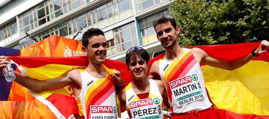El extremeño Álvaro Martín y la andaluza María Pérez regalaron a España un doblete de oro histórico en los 20 km marcha de los campeonatos de Europa.