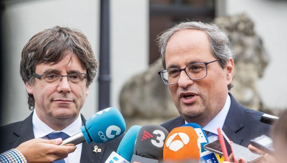 El expresidente catalán, Carles Puigdemont, y el presidente de la Generalitat, Quim Torra