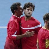 Sergi Bruguera, con Feliciano López y Marcel Granollers