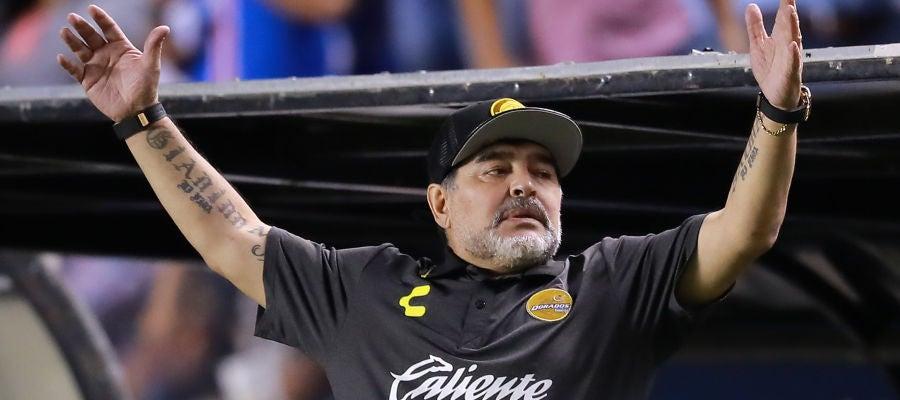 Maradona, durante un partido del Dorados de Sinaloa