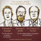 Frances H. Arnold, George P. Smith y Gregory P. Winter, galardonados con el Premio Nobel de Química 2018