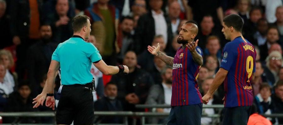 Arturo Vidal en el partido contra el Tottenham
