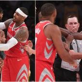 Momento de la pelea que tuvo lugar en el Lakers-Rockets