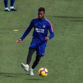 Lemar, durante un entrenamiento con el Atlético de Madrid
