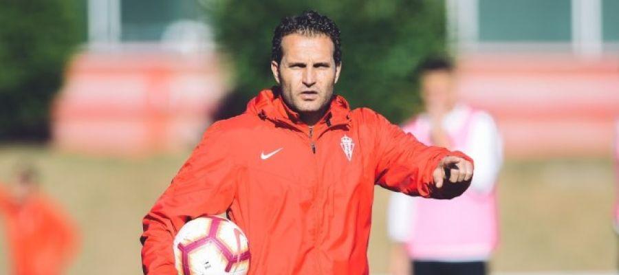 Baraja, durante un entrenamiento con el Sporting de Gijón