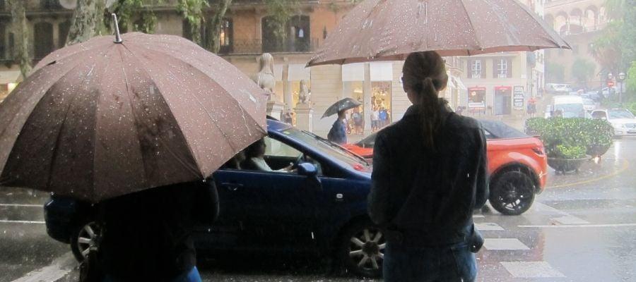 Día lluvioso en el centro de Palma