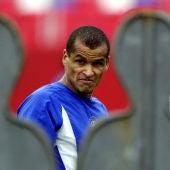 Rivaldo, durante un entrenamiento con Brasil