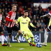 Leo Messi defiende un balón ante los jugadores del PSV