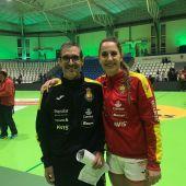 José Ignacio Prades, ex del Mustang y ayudante del seleccionador Carlos Viver, junto a la internacional Carmen Campos, del Mecalia Atlético Guardés.