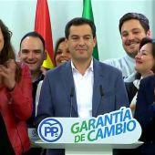 """Juanma Moreno: """"El cambio ha ganado las elecciones en Andalucía"""""""